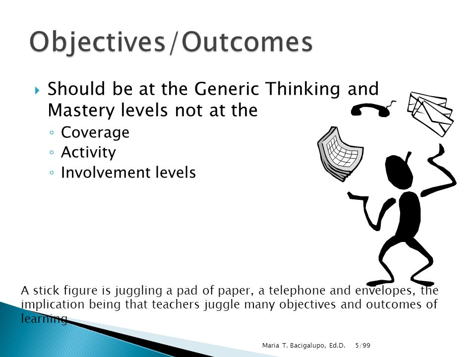 5/99Maria T. Bacigalupo, Ed.D.  Should be at the Generic Thinking and Mastery levels not at the ◦ Coverage ◦ Activity ◦ Involvement levels A stick fi
