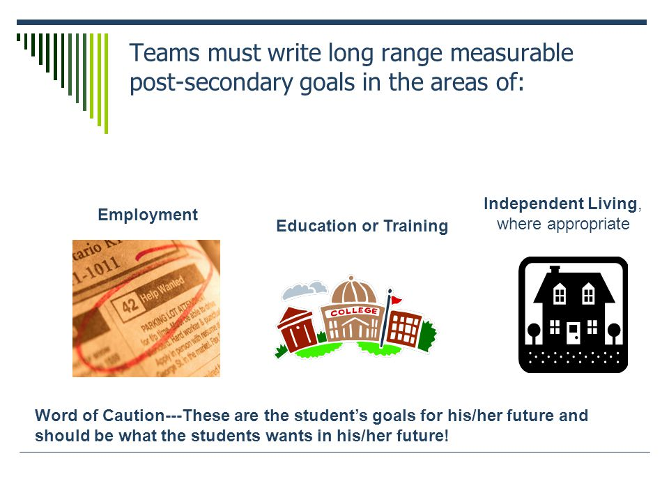 Teams must write long range measurable post-secondary goals in the areas of: Employment Education or Training Independent Living, where appropriate Word of Caution---These are the student's goals for his/her future and should be what the students wants in his/her future!