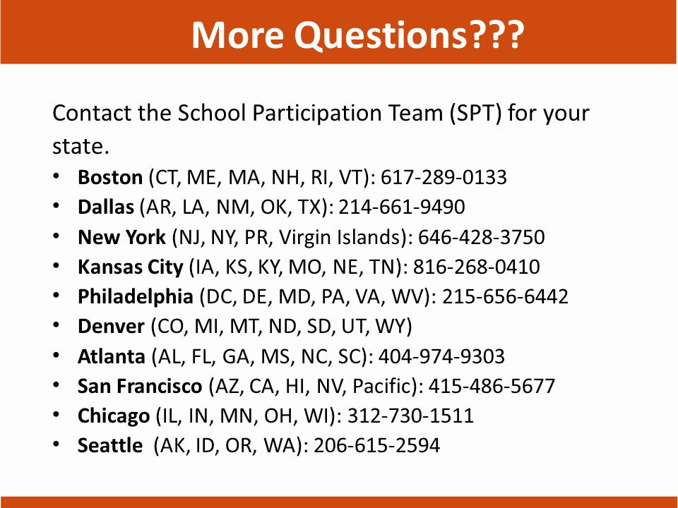 More Questions . Contact the School Participation Team (SPT) for your state.