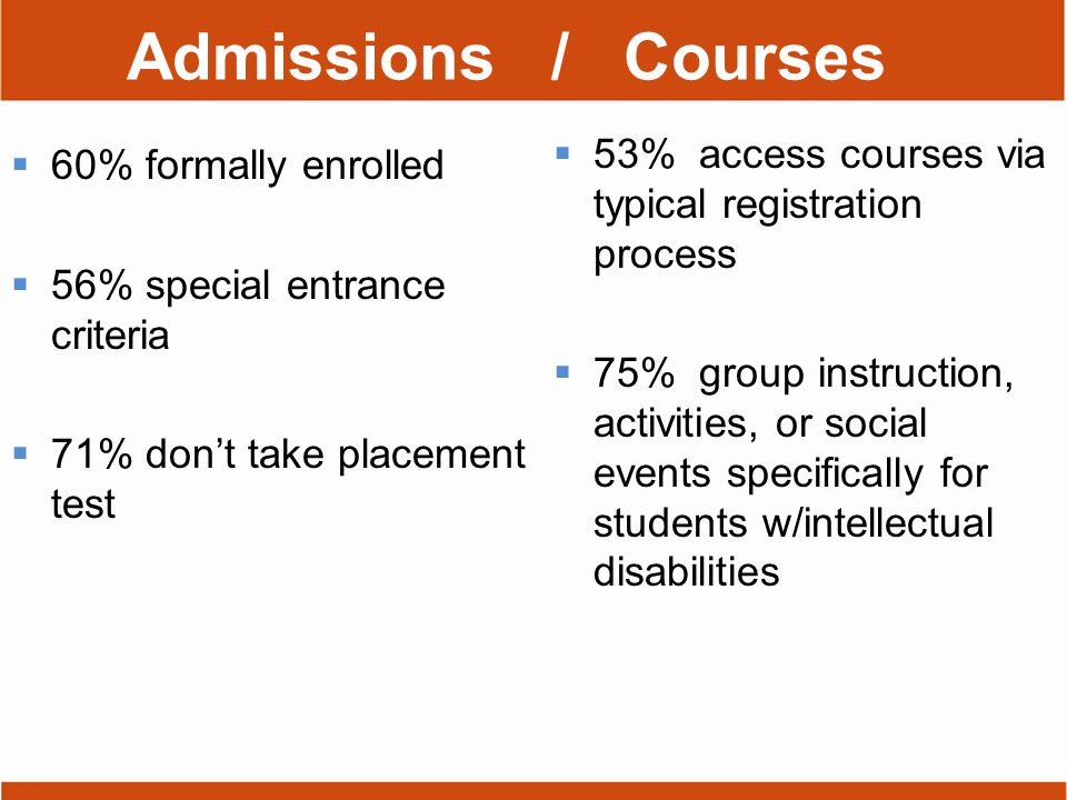 Admissions / Courses  60% formally enrolled  56% special entrance criteria  71% don't take placement test  53% access courses via typical registration process  75% group instruction, activities, or social events specifically for students w/intellectual disabilities