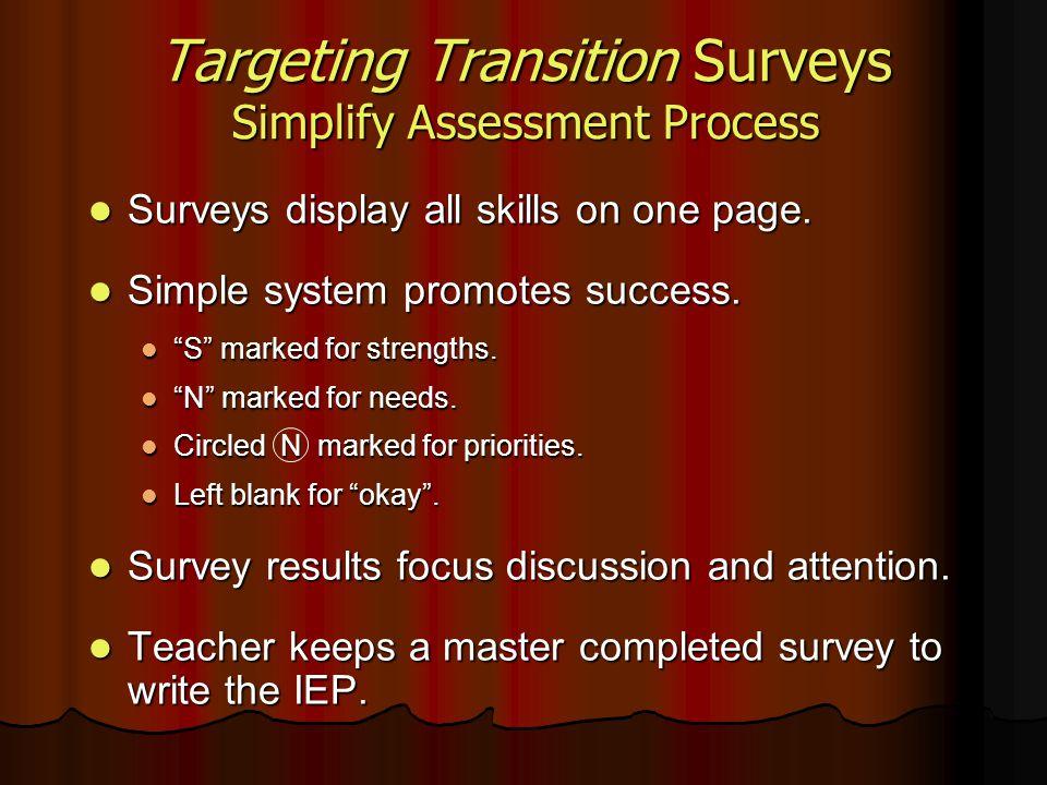 Targeting Transition Surveys Simplify Assessment Process Surveys display all skills on one page. Surveys display all skills on one page. Simple system
