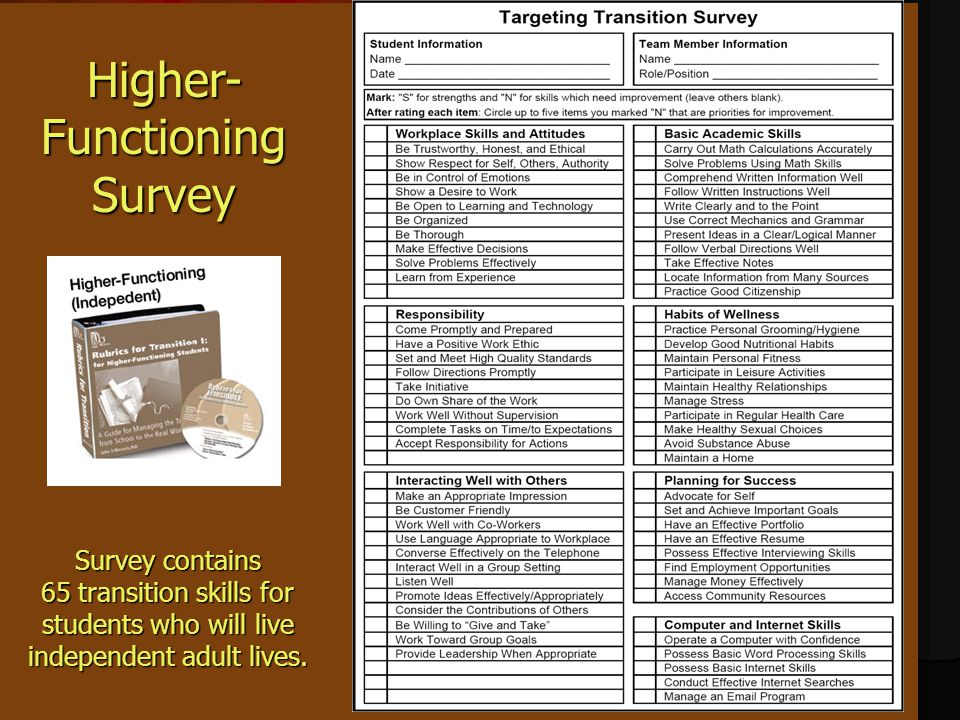 Higher- Functioning Survey Survey contains 65 transition skills for students who will live independent adult lives.