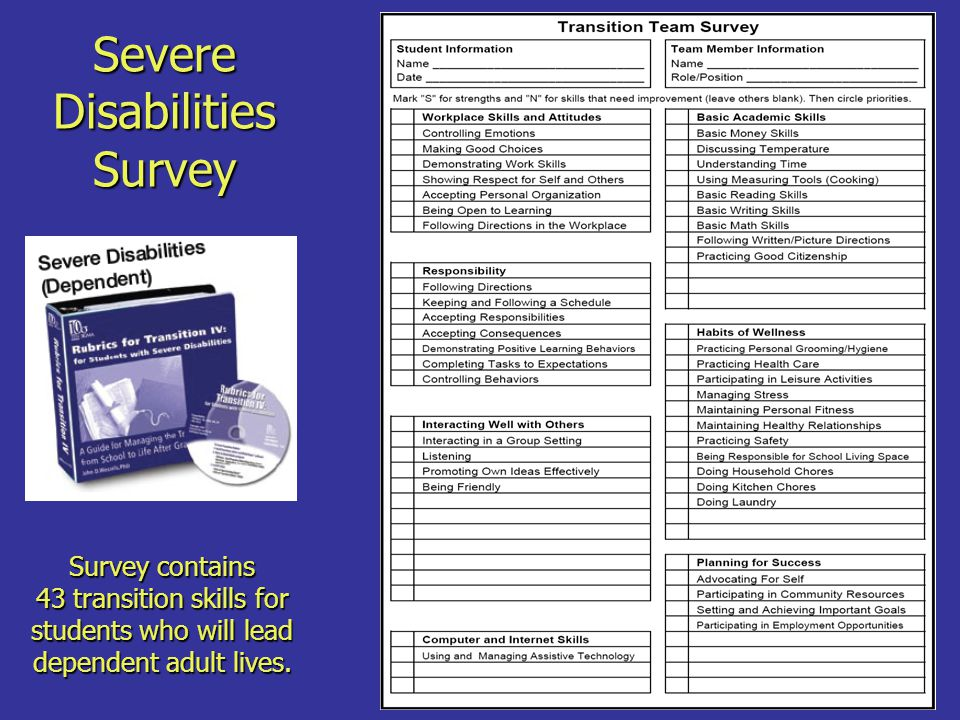 Severe Disabilities Survey Survey contains 43 transition skills for students who will lead dependent adult lives.