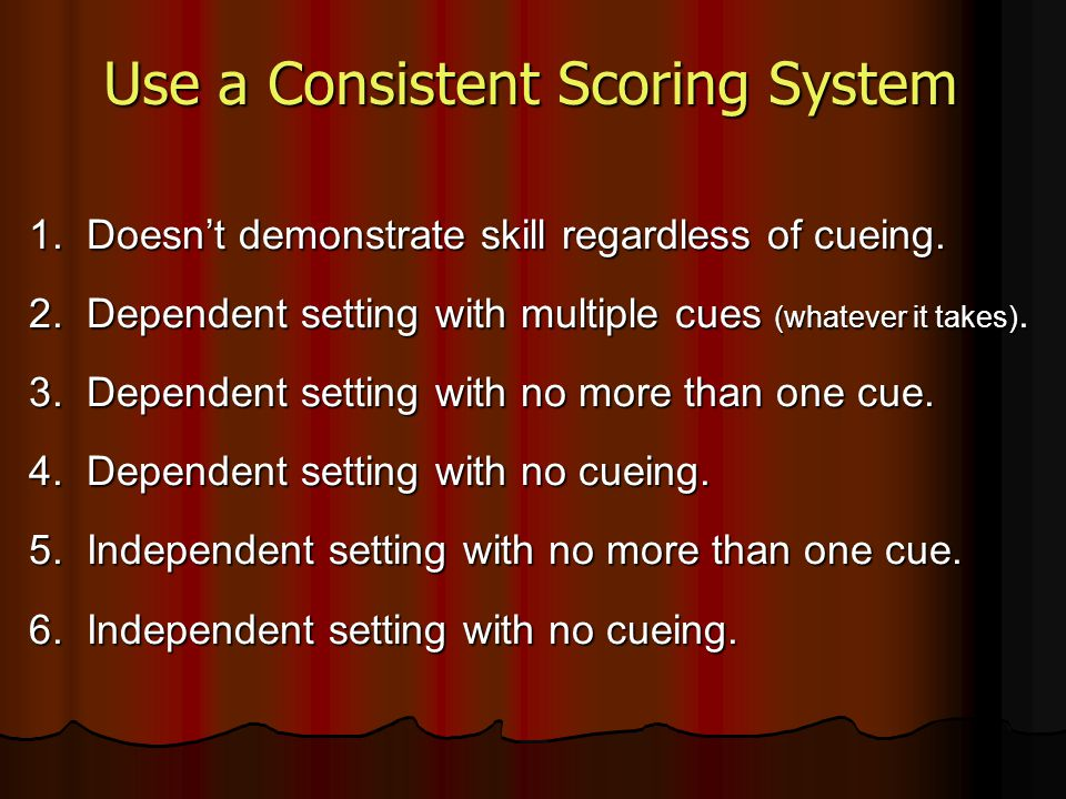 1. Doesn't demonstrate skill regardless of cueing. 2. Dependent setting with multiple cues (whatever it takes). 3. Dependent setting with no more than