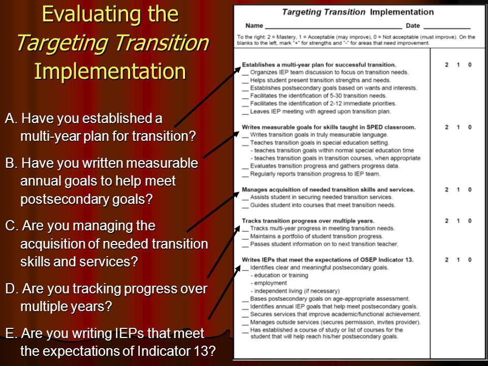 Evaluating the Targeting Transition Implementation A. Have you established a multi-year plan for transition? multi-year plan for transition? B. Have y