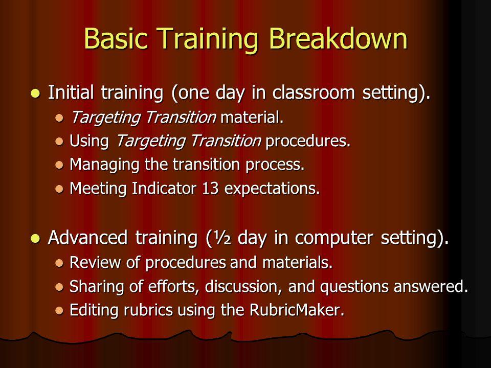 Basic Training Breakdown Initial training (one day in classroom setting). Initial training (one day in classroom setting). Targeting Transition materi