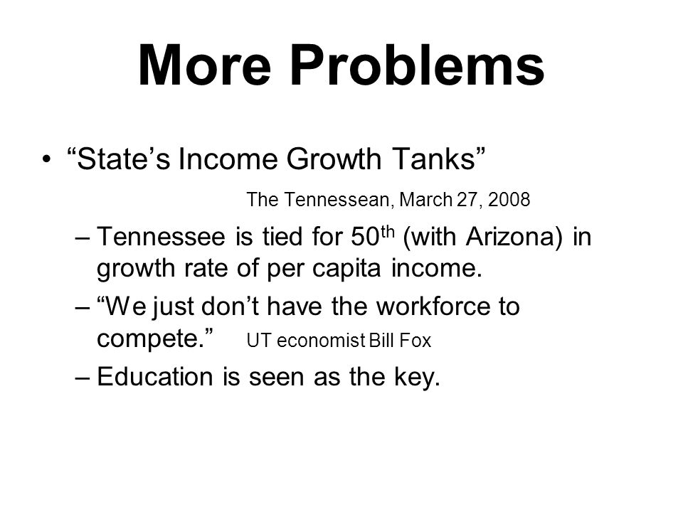 More Problems State's Income Growth Tanks The Tennessean, March 27, 2008 –Tennessee is tied for 50 th (with Arizona) in growth rate of per capita income.