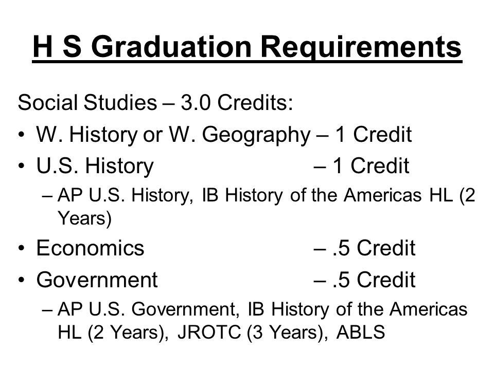 H S Graduation Requirements Social Studies – 3.0 Credits: W. History or W. Geography – 1 Credit U.S. History– 1 Credit –AP U.S. History, IB History of