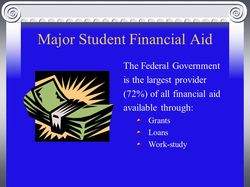 Major Student Financial Aid The Federal Government is the largest provider (72%) of all financial aid available through: Grants Loans Work-study