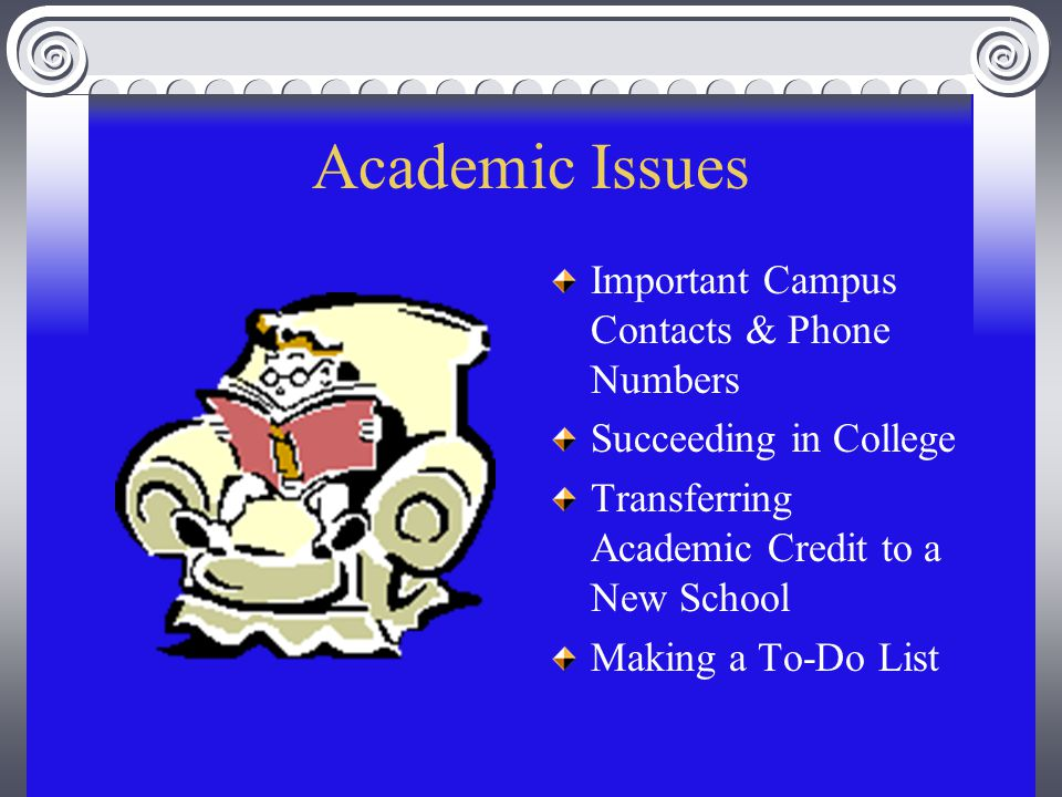 Academic Issues Important Campus Contacts & Phone Numbers Succeeding in College Transferring Academic Credit to a New School Making a To-Do List