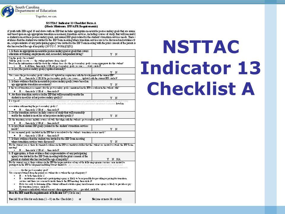 NSTTAC Indicator 13 Checklist A