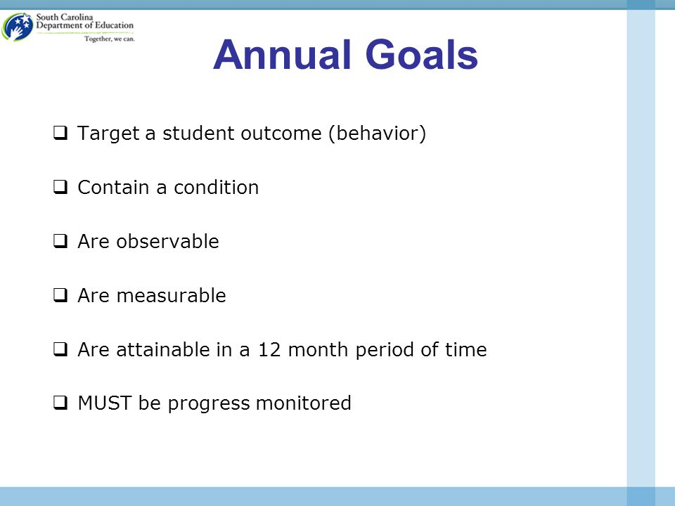 Annual Goals  Target a student outcome (behavior)  Contain a condition  Are observable  Are measurable  Are attainable in a 12 month period of time  MUST be progress monitored