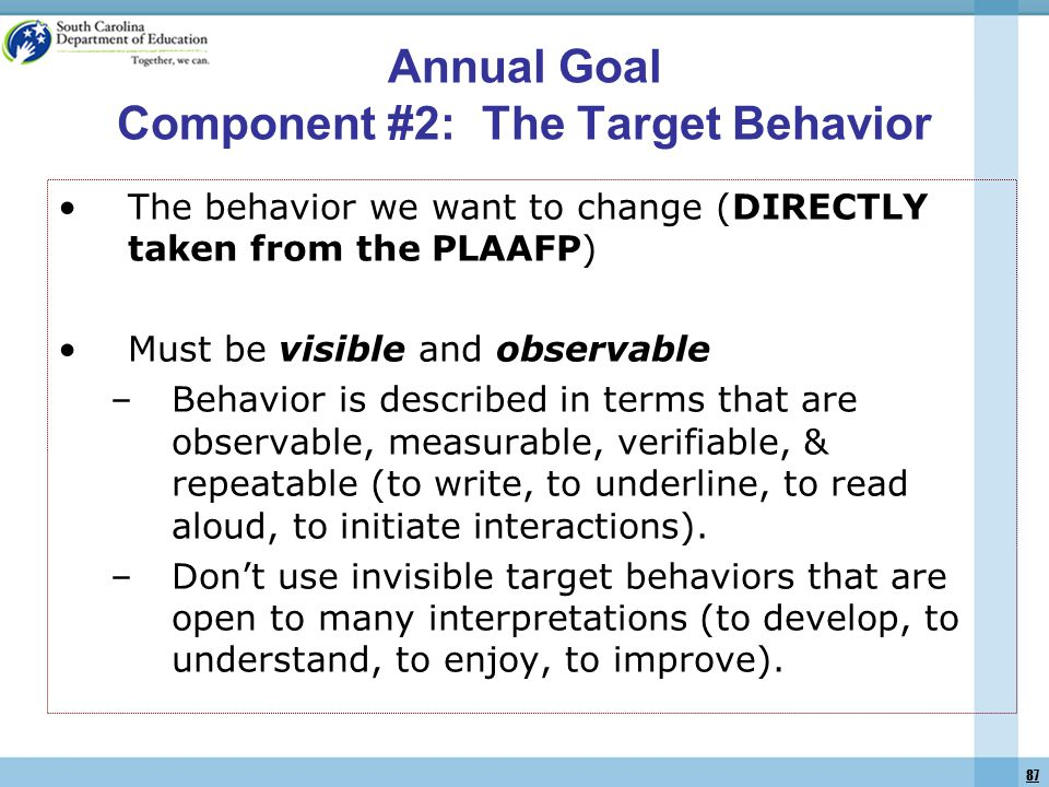 87 The behavior we want to change (DIRECTLY taken from the PLAAFP) Must be visible and observable –Behavior is described in terms that are observable, measurable, verifiable, & repeatable (to write, to underline, to read aloud, to initiate interactions).