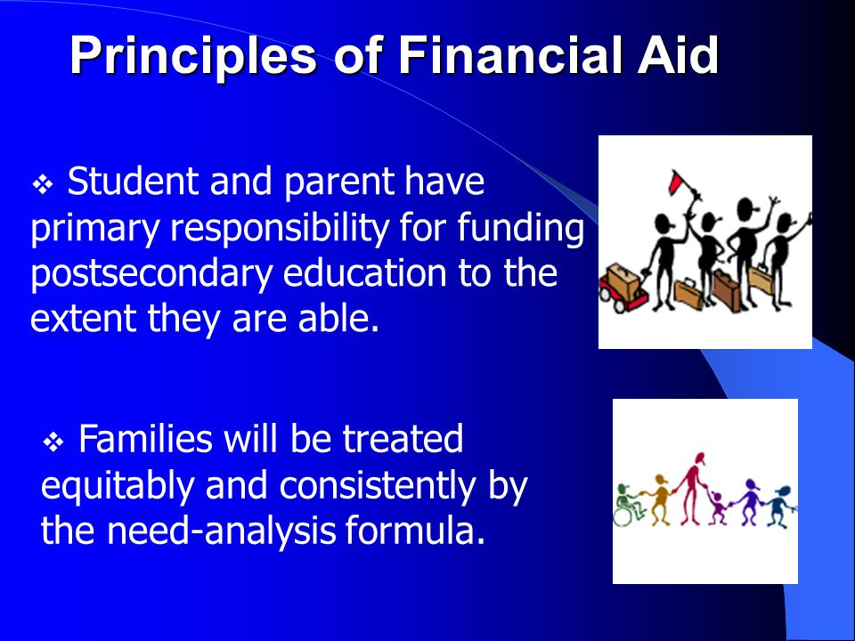 Role of the Financial Aid Office  Determine final eligibility for need-based aid  Package aid  Send award letter which details:  Types and amounts of aid  Disbursement procedure  Conditions of awards