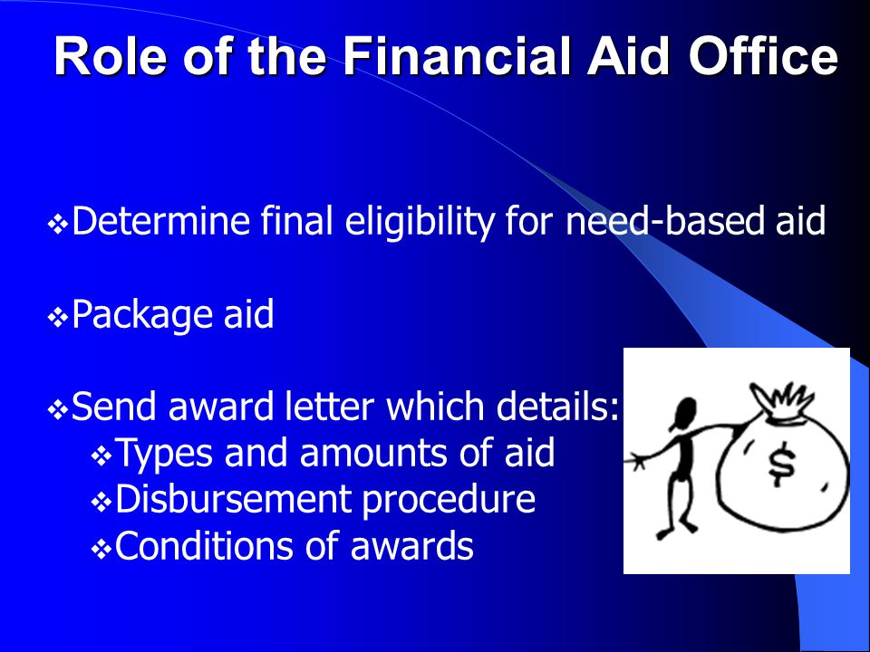 Institutional Aid Institutional Aid  May be grants, scholarships, loans, employment or discounts  May require institutional application and/or other supplemental financial aid forms  Deadline dates are very important  Each institution varies in resources available for awards, percentage of need met, & what formula they use  Contact the Admissions or Financial Aid Office at each institution being considered