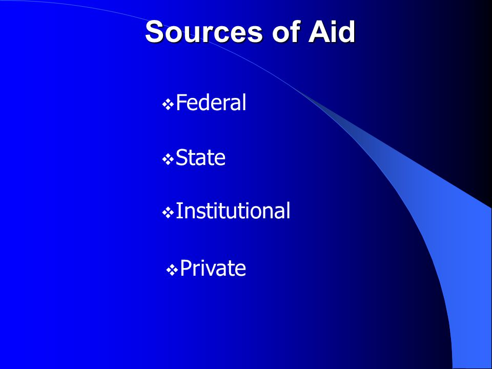 Federal Financial Aid Programs  Pell Grant Foundation for federal financial aid Must submit FAFSA EFC and COA determine eligibility $5,550 maximum 2012-13