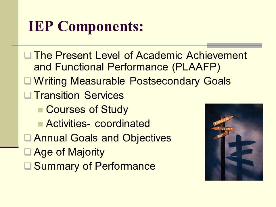 IEP Components:  The Present Level of Academic Achievement and Functional Performance (PLAAFP)  Writing Measurable Postsecondary Goals  Transition