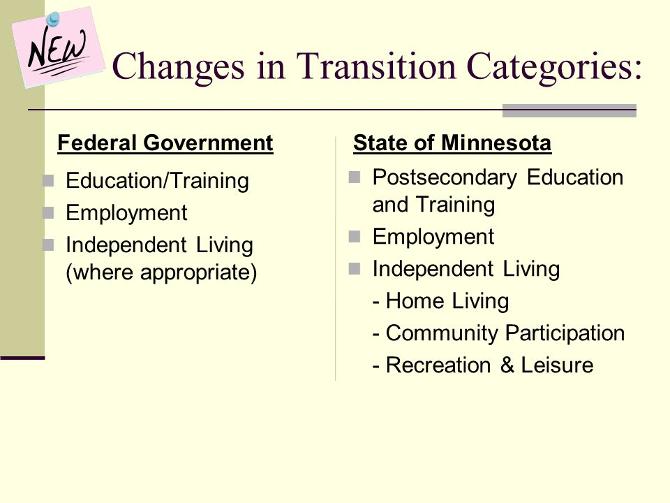 Changes in Transition Categories: Federal Government Education/Training Employment Independent Living (where appropriate) State of Minnesota Postsecon