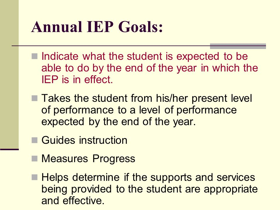 Annual IEP Goals: Indicate what the student is expected to be able to do by the end of the year in which the IEP is in effect. Takes the student from