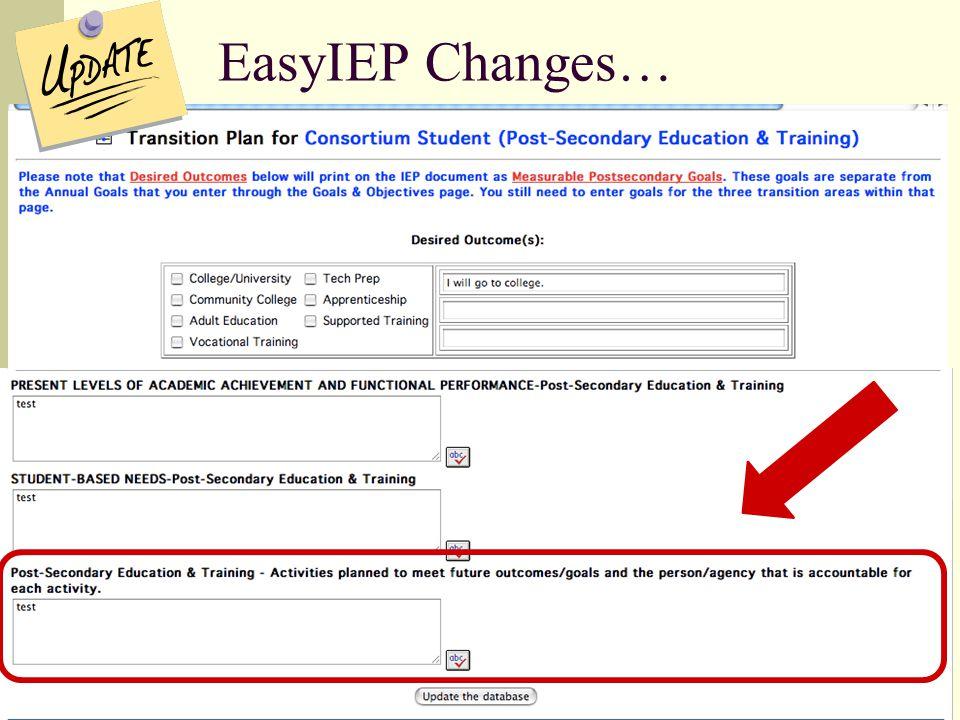 EasyIEP Changes…