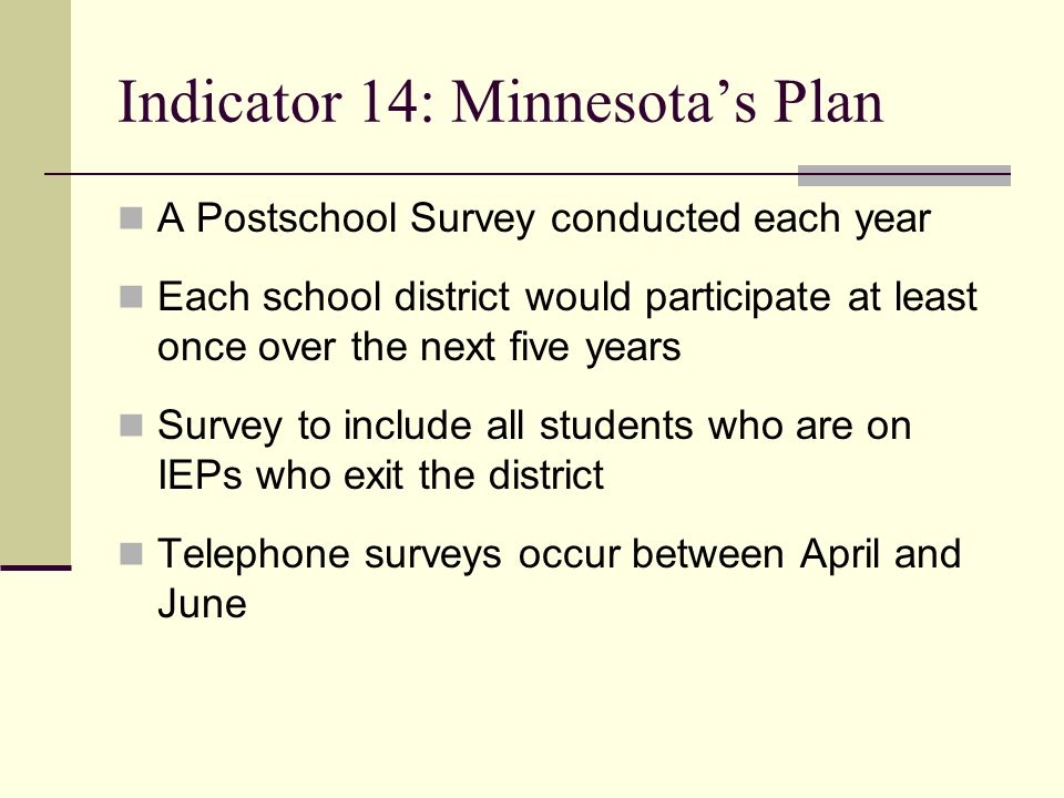 Indicator 14: Minnesota's Plan A Postschool Survey conducted each year Each school district would participate at least once over the next five years S