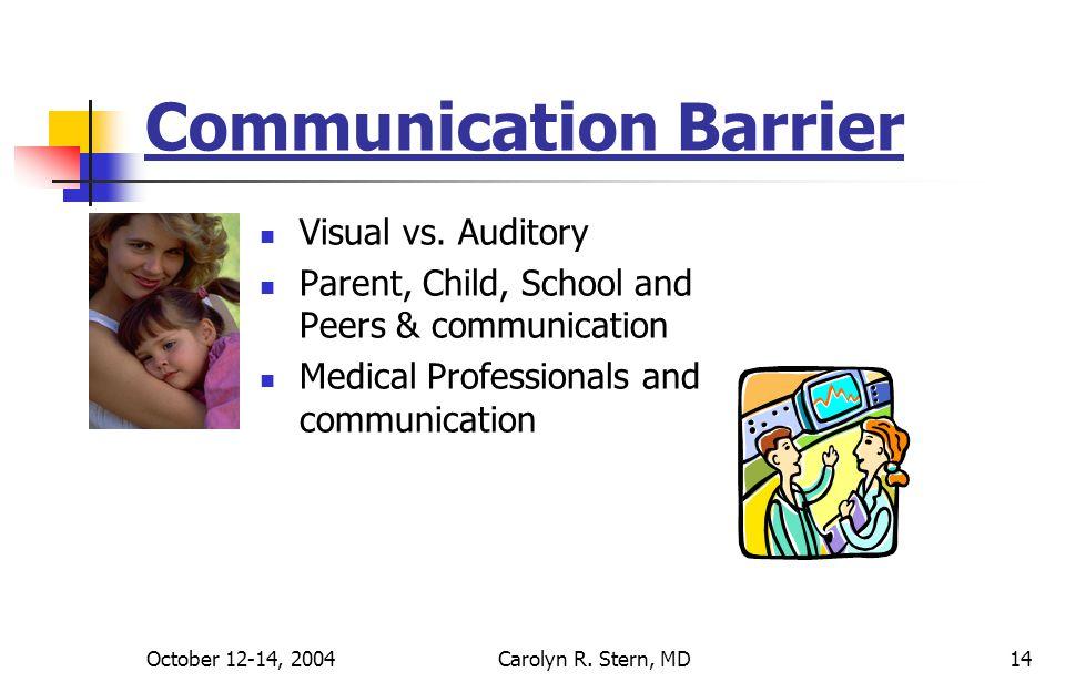 October 12-14, 2004Carolyn R. Stern, MD14 Communication Barrier Visual vs.
