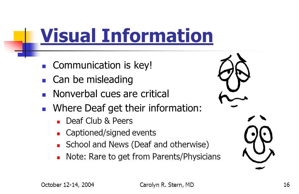 October 12-14, 2004Carolyn R. Stern, MD16 Visual Information Communication is key.