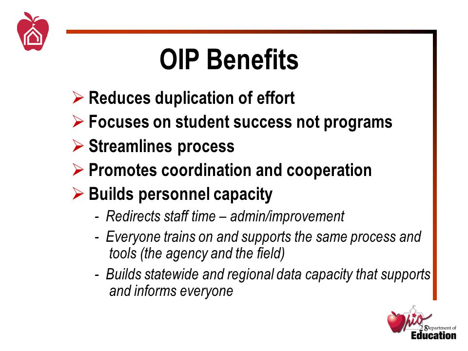 28 OIP Benefits  Reduces duplication of effort  Focuses on student success not programs  Streamlines process  Promotes coordination and cooperation  Builds personnel capacity - Redirects staff time – admin/improvement - Everyone trains on and supports the same process and tools (the agency and the field) - Builds statewide and regional data capacity that supports and informs everyone