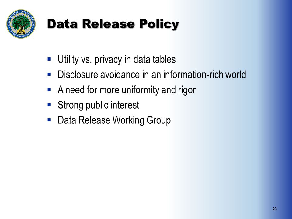 Data Release Policy  Utility vs.