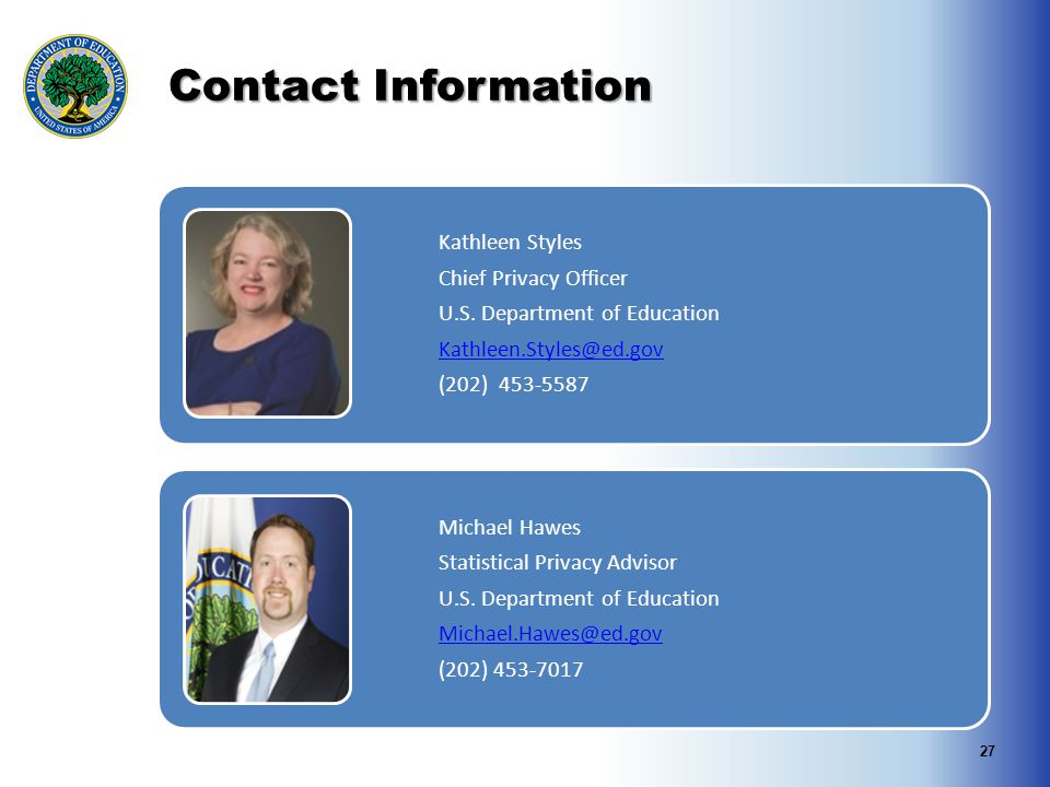 Contact Information Kathleen Styles Chief Privacy Officer U.S.