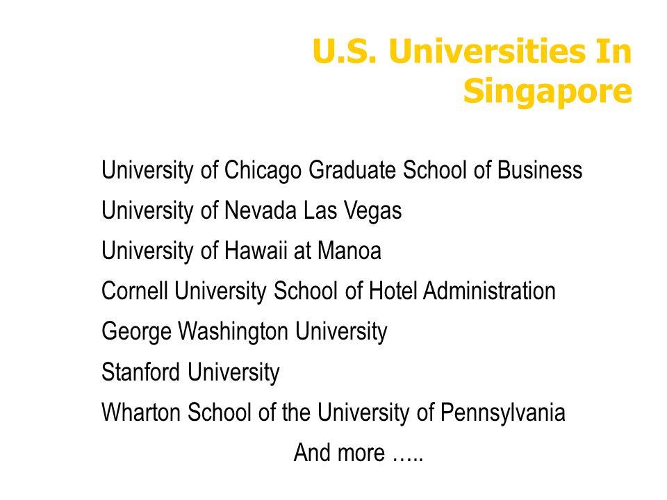 U.S. Universities In Singapore University of Chicago Graduate School of Business University of Nevada Las Vegas University of Hawaii at Manoa Cornell