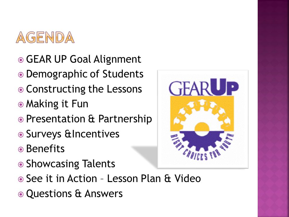  GEAR UP Goal Alignment  Demographic of Students  Constructing the Lessons  Making it Fun  Presentation & Partnership  Surveys &Incentives  Benefits  Showcasing Talents  See it in Action – Lesson Plan & Video  Questions & Answers