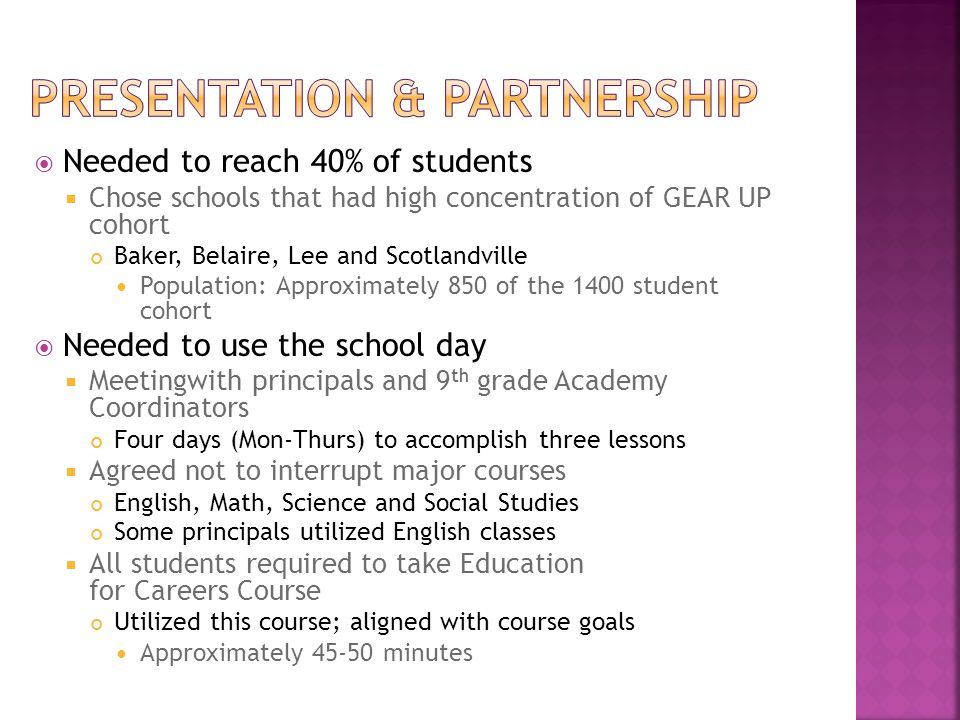  Needed to reach 40% of students  Chose schools that had high concentration of GEAR UP cohort Baker, Belaire, Lee and Scotlandville Population: Approximately 850 of the 1400 student cohort  Needed to use the school day  Meetingwith principals and 9 th grade Academy Coordinators Four days (Mon-Thurs) to accomplish three lessons  Agreed not to interrupt major courses English, Math, Science and Social Studies Some principals utilized English classes  All students required to take Education for Careers Course Utilized this course; aligned with course goals Approximately 45-50 minutes
