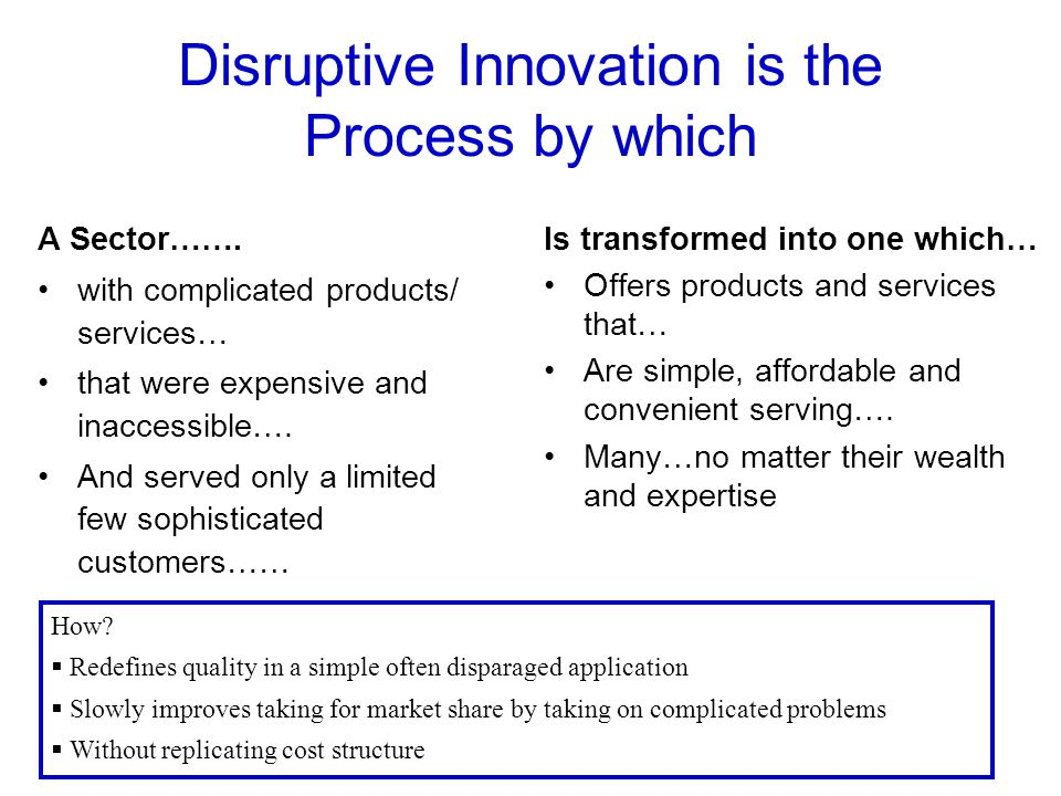 Disruptive Innovation is the Process by which A Sector…….