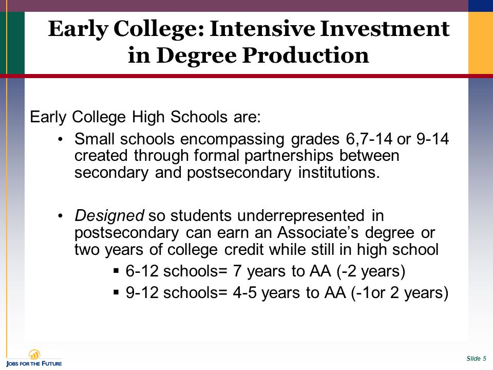 Slide 5 Early College High Schools are: Small schools encompassing grades 6,7-14 or 9-14 created through formal partnerships between secondary and pos