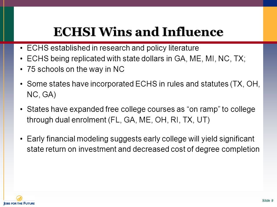 Slide 9 ECHSI Wins and Influence ECHS established in research and policy literature ECHS being replicated with state dollars in GA, ME, MI, NC, TX; 75