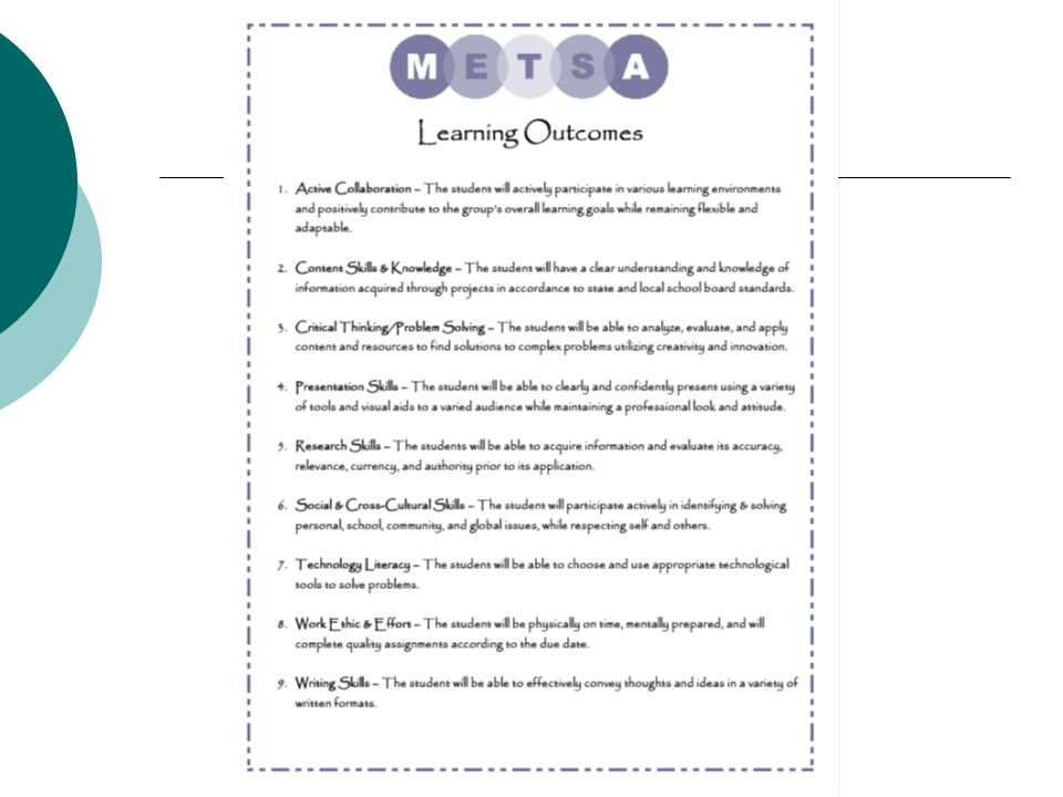 METSA's Response Key Content Knowledge: Taught & assessed using Project-Based-Learning  Real-world  Relevant (Creating Need-to-Know)  Rigorous 9th & 10 th grade—Pre-AP (AP Exams in World History & Spanish) 11 th & 12 th grades—Pre-AP, Dual-Credit, AP Differentiation (Content, Product, Process) Integrated Projects Power Standards (in-depth focus on key content areas) Math & ELA Skills Alignment (in collaboration with the community college--making sure students are ready to take the Accuplacer by spring of their 10 th grade)