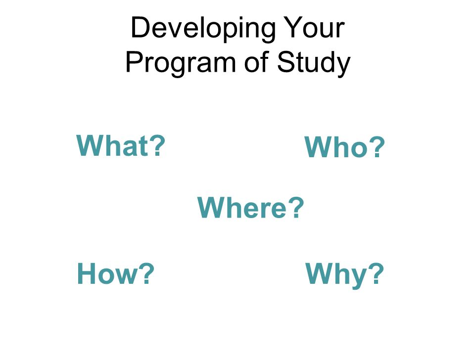 Developing Your Program of Study What? Who? Where? How?Why?