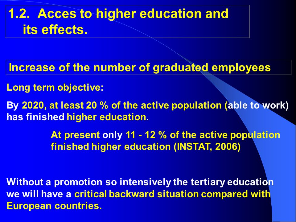 1.2.Acces to higher education and its effects.