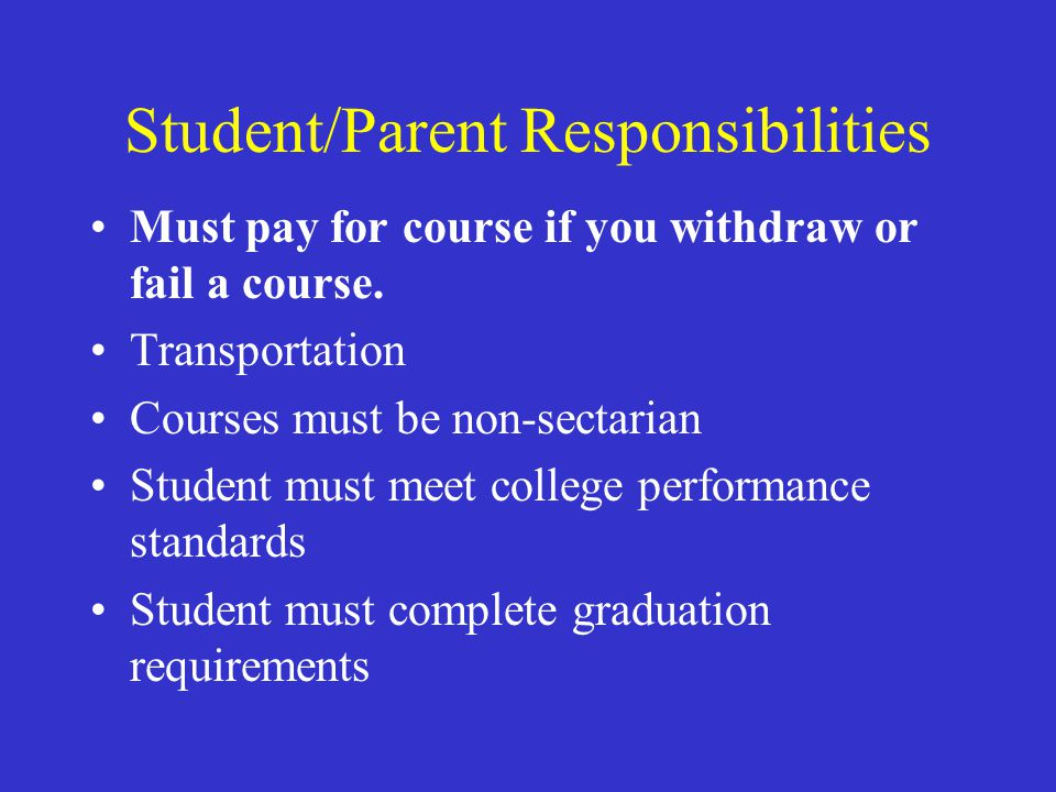 Student/Parent Responsibilities Must pay for course if you withdraw or fail a course. Transportation Courses must be non-sectarian Student must meet c