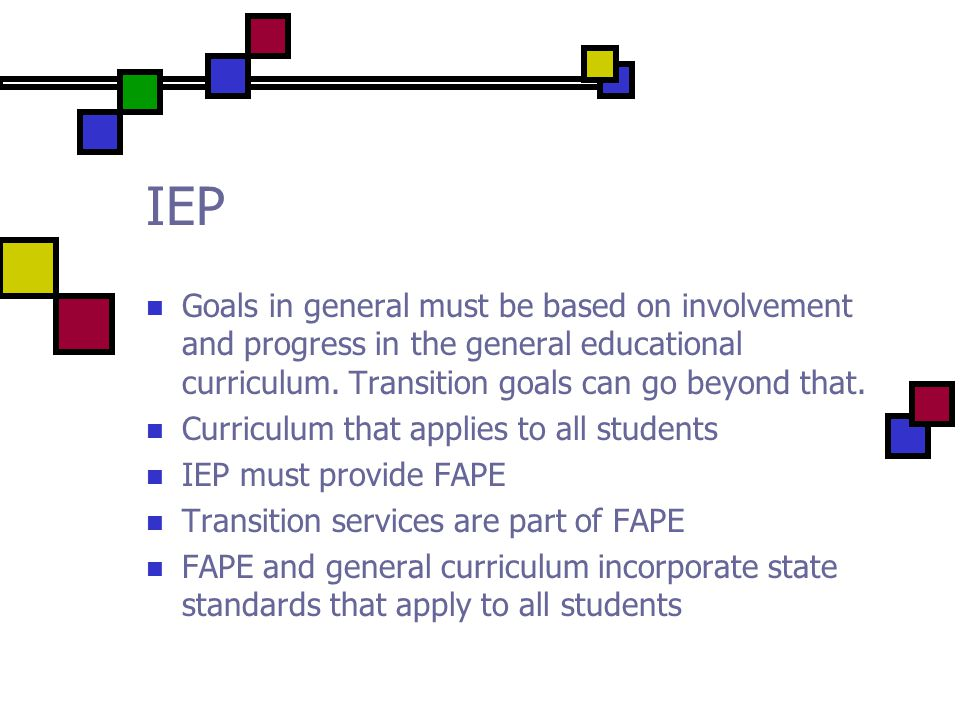 IEP Goals in general must be based on involvement and progress in the general educational curriculum.