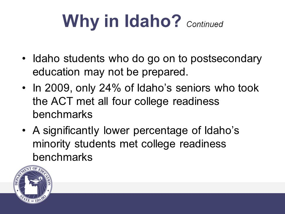 Why in Idaho. Continued Idaho students who do go on to postsecondary education may not be prepared.