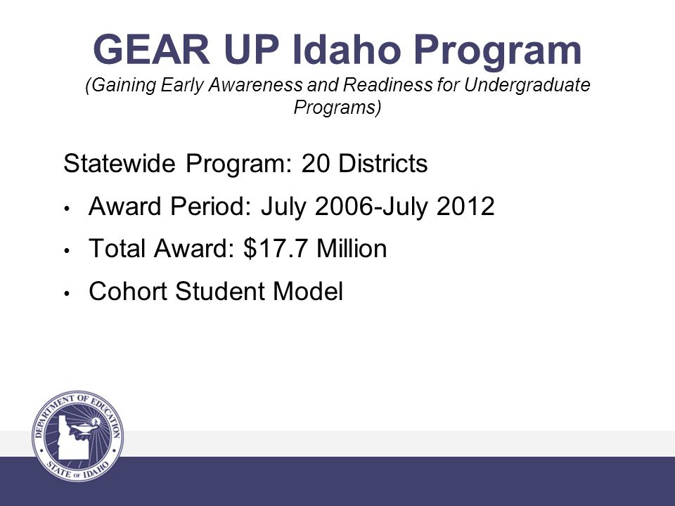 GEAR UP Idaho Program (Gaining Early Awareness and Readiness for Undergraduate Programs) Statewide Program: 20 Districts Award Period: July 2006-July 2012 Total Award: $17.7 Million Cohort Student Model