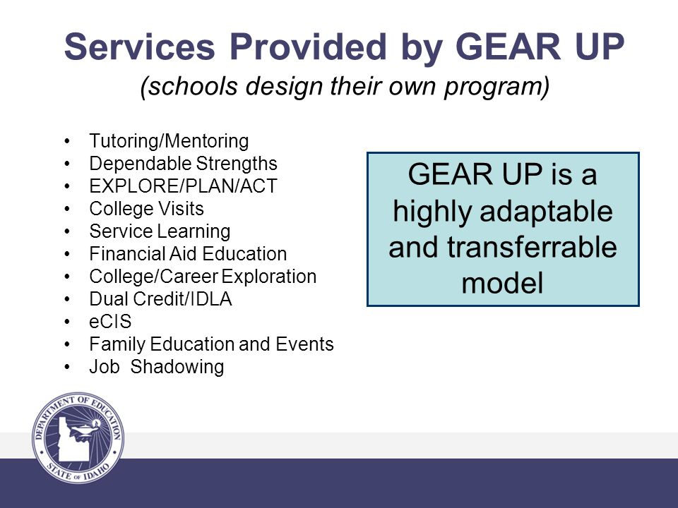 Services Provided by GEAR UP (schools design their own program) Tutoring/Mentoring Dependable Strengths EXPLORE/PLAN/ACT College Visits Service Learning Financial Aid Education College/Career Exploration Dual Credit/IDLA eCIS Family Education and Events Job Shadowing GEAR UP is a highly adaptable and transferrable model
