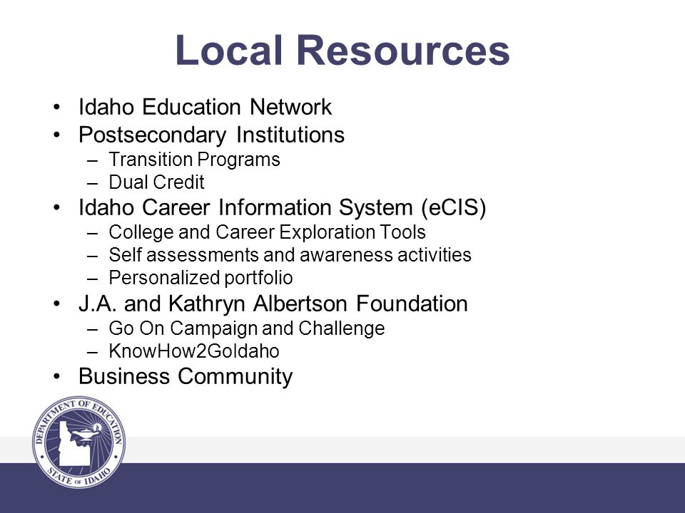 Local Resources Idaho Education Network Postsecondary Institutions –Transition Programs –Dual Credit Idaho Career Information System (eCIS) –College and Career Exploration Tools –Self assessments and awareness activities –Personalized portfolio J.A.
