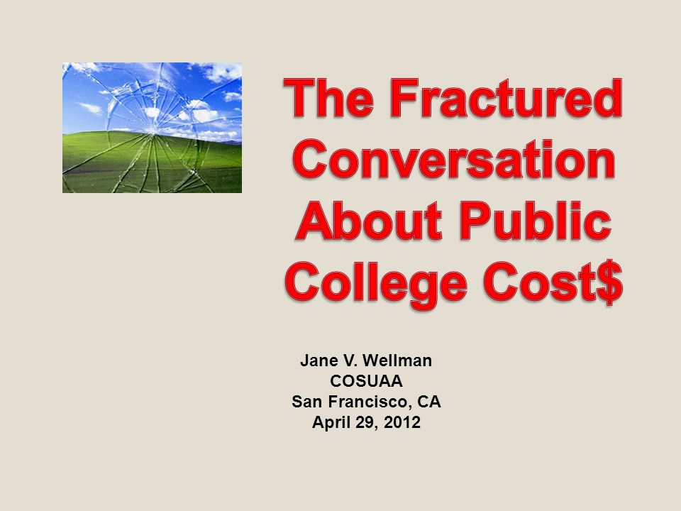 2 Outside/Inside: the fractured dialogue about college costs and the road ahead GroupDefinition of problemSolution PublicCaught between growing importance and declining access Protect access at all costs.