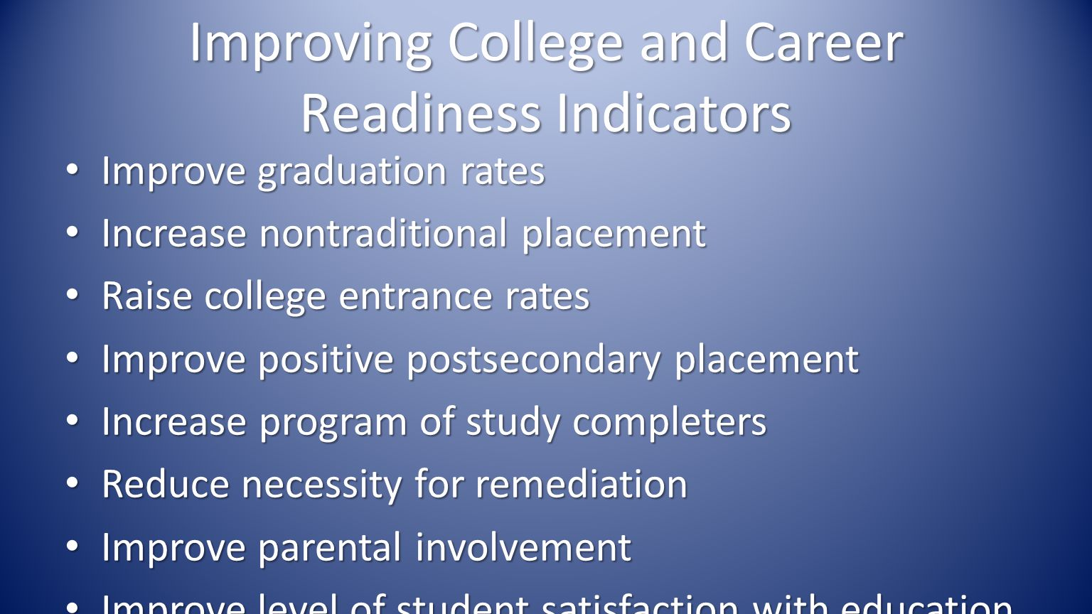 Improving College and Career Readiness Indicators Improve graduation rates Improve graduation rates Increase nontraditional placement Increase nontraditional placement Raise college entrance rates Raise college entrance rates Improve positive postsecondary placement Improve positive postsecondary placement Increase program of study completers Increase program of study completers Reduce necessity for remediation Reduce necessity for remediation Improve parental involvement Improve parental involvement Improve level of student satisfaction with education Improve level of student satisfaction with education