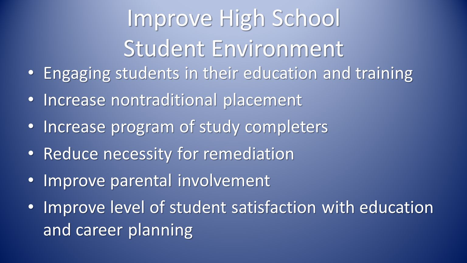 Improve High School Student Environment Engaging students in their education and training Engaging students in their education and training Increase nontraditional placement Increase nontraditional placement Increase program of study completers Increase program of study completers Reduce necessity for remediation Reduce necessity for remediation Improve parental involvement Improve parental involvement Improve level of student satisfaction with education and career planning Improve level of student satisfaction with education and career planning