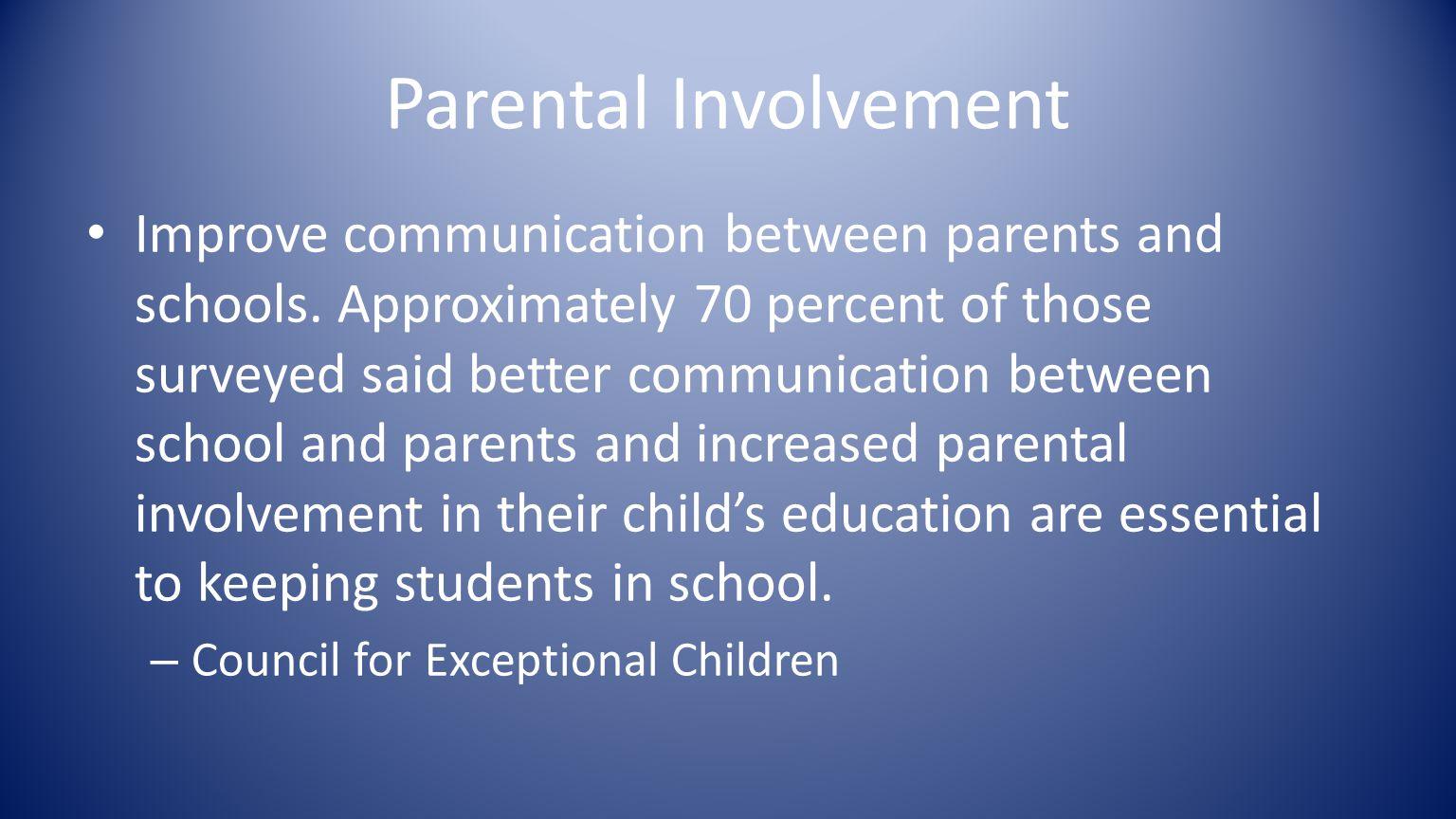 Parental Involvement Improve communication between parents and schools.