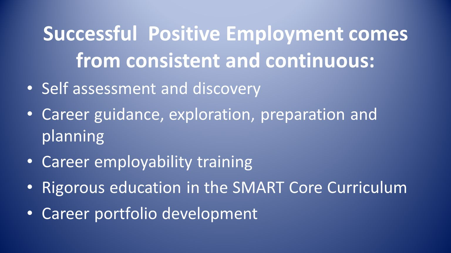 Successful Positive Employment comes from consistent and continuous: Self assessment and discovery Career guidance, exploration, preparation and planning Career employability training Rigorous education in the SMART Core Curriculum Career portfolio development
